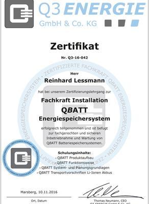 Zertifikat Q3 ENERGIE