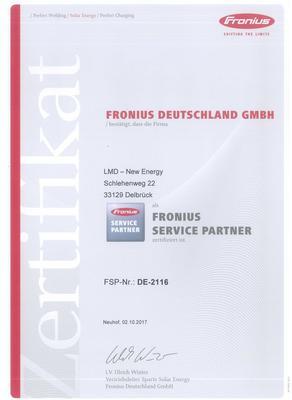 Zertifikat Fronius